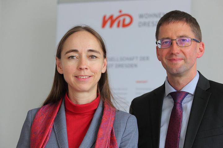 """Bauen gemeinsam die neue Woba """"WiD"""" auf: Sozialbürgermeisterin Kristin Kaufmann (43, Linke) und WiD-Chef Steffen Jäckel (49)."""