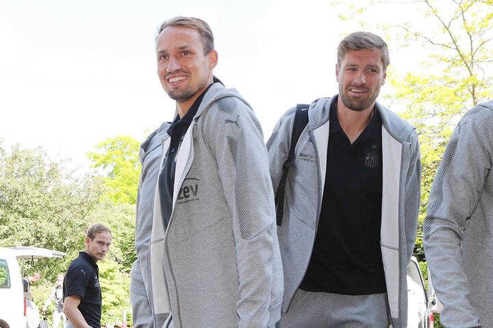 Toni Wachsmuth (l.) und Ronny König kurz nach der Ankunft in Bad Blankenburg.