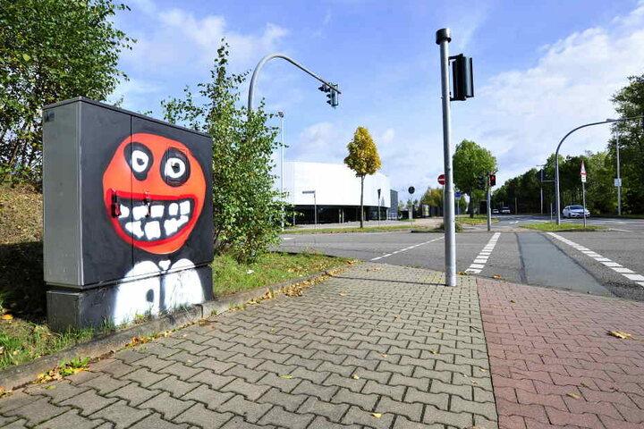 Ein Rotköpfiger hat den Verteilerkasten in der Neefestraße formatfüllend besetzt.