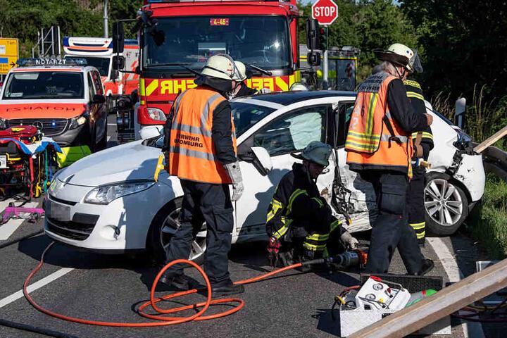 Das Bild zeigt einen der beiden am Unfall beteiligten Kleinwagen.