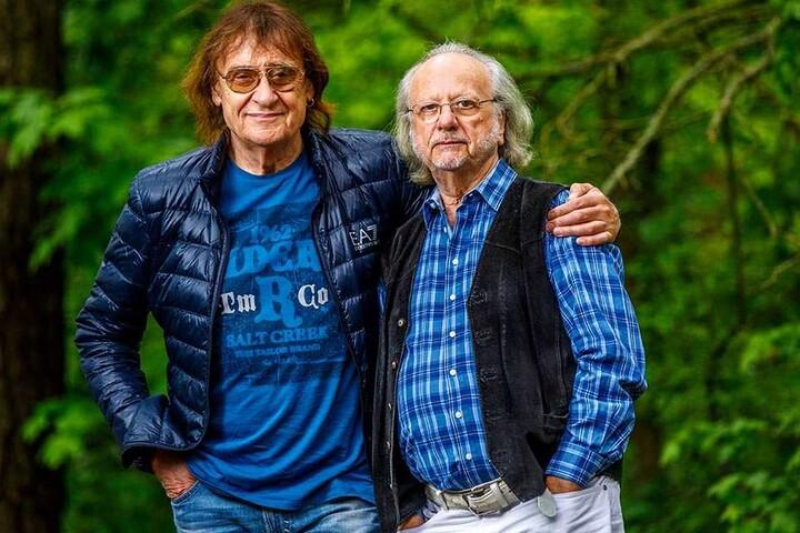 """Ihn zieht es nach Sachsen: Paul-und-Paula-Komponist Peter Gotthardt (75) (rechts) mit Dieter """"Maschine"""" Birr."""