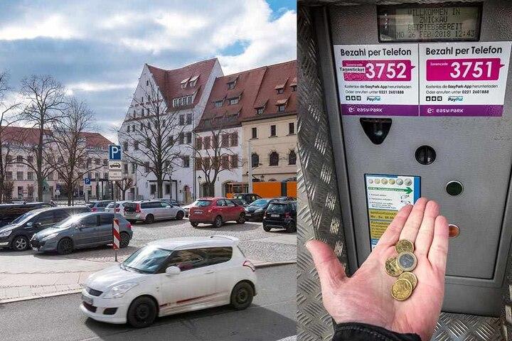 Zwickaus Parkraumkonzept - hier der Parkplatz am Schumanndenkmal - sorgen immer für Verdruss bei Einwohnern und Touristen. Wer in der Innenstadt zwei Stunden parken will, braucht exakt 1,80 Euro. Sonst geht nichts.