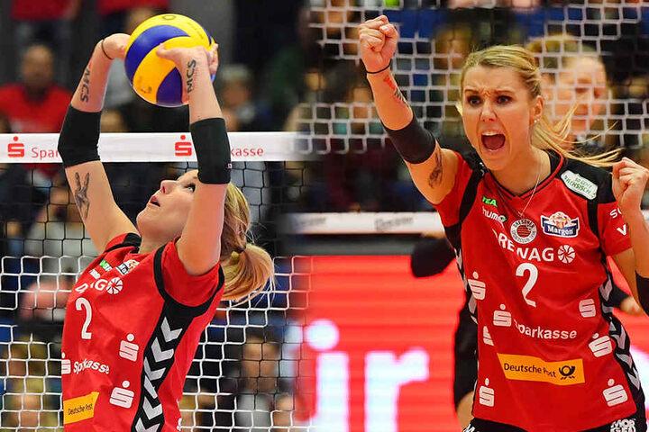 Die Sportlerin verteilt die Bälle bei Volleyball-Bundesligist Dresdner SC.