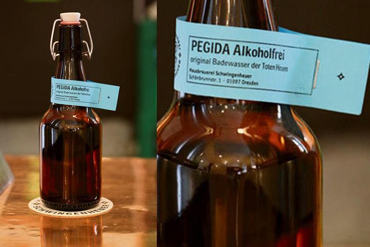 "Den Erlös der Flasche ""Pegida alkoholfrei"" will er an Dresden Nazifrei spenden."