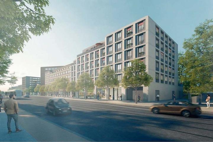 Die Grafik zeigt im Vordergrund ein Bauprojekt mit 38 Wohneinheiten an der Nürnberger Straße.