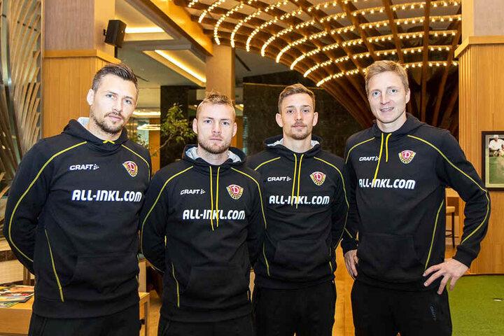 80 Prozent des neuen Mannschaftsrates (v.l.): Sören Gonther, Brian Hamalainen, Jannik Müller und Marco Hartmann. Der bereits in Dresden weilende Patrick Ebert gehört ebenfalls dazu.