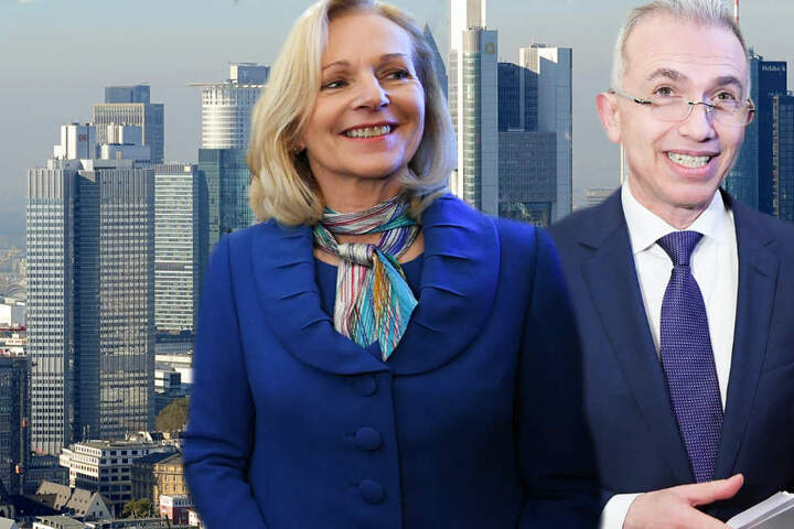Bernadette Weyland (CDU) und Peter Feldmann (SPD) traten bei der Stichwahl gegeneinander an.
