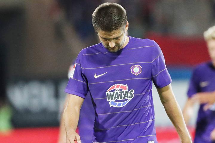 Am Ende war Enttäuschung pur bei Dimitrij Nazarov. Aue hat in Heidenheim Punkte verschenkt.