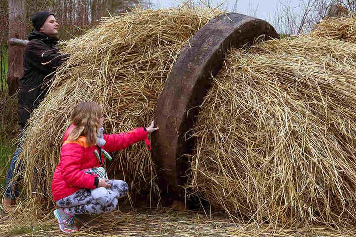 Vater Marius und Tochter Louisa inspizieren ein Osterrad aus Holz, das später brennend den Osterberg herunterrollen soll.