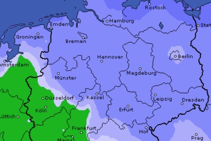 Die Niederschlagswahrscheinlichkeit am Wochenende (hier Sonntag) ist sehr hoch (blau).