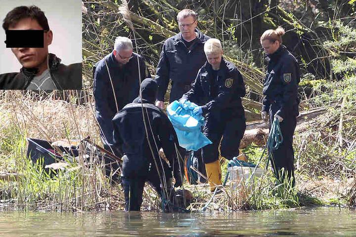 Im April 2016 bargen Polizeitaucher Leichenteile aus dem Elsterbecken. Jetzt gestand Dovchin D. (kleines Foto) den Mord an Maria D. (43).