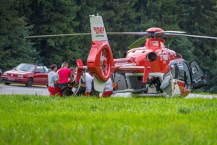 Zum Einsatz kam auch der Rettungshubschrauber.