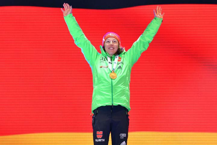 Genau wie hier bei der Siegerehrung zur Weltmeisterin möchte Deutschlands Sportlerin des Jahres auch in Thüringen ganz oben auf dem Podest stehen.