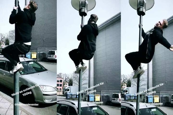 In einer der Challenges muss Felix eine Laterne erklimmen.