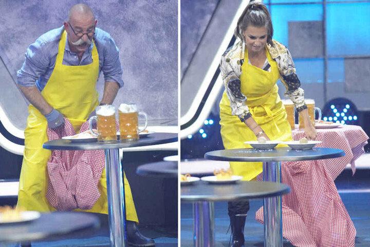 Das Spiel: Wer schafft es, das Tischtuch vom Tisch zu ziehen, ohne das Geschirr kaputt zu machen.