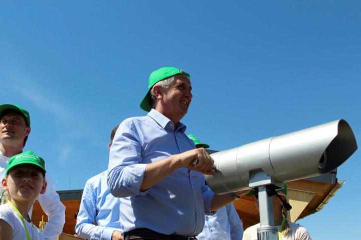 Behielt auf dem Offroad-Gelände den Überblick: Sachsens Umweltminister Thomas Schmidt.