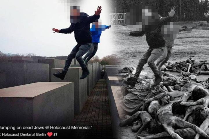 """Die Jungs hinterließen den völlig gedankenlosen Kommentar """"Auf toten Juden rumspringen"""". Nach der Foto-Montage wird ihnen wohl klar, was die Worte bedeuten."""