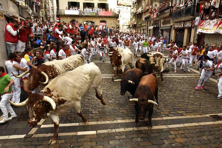 Hunderte Teilnehmer kommen jedes Jahr nach Pamplona.