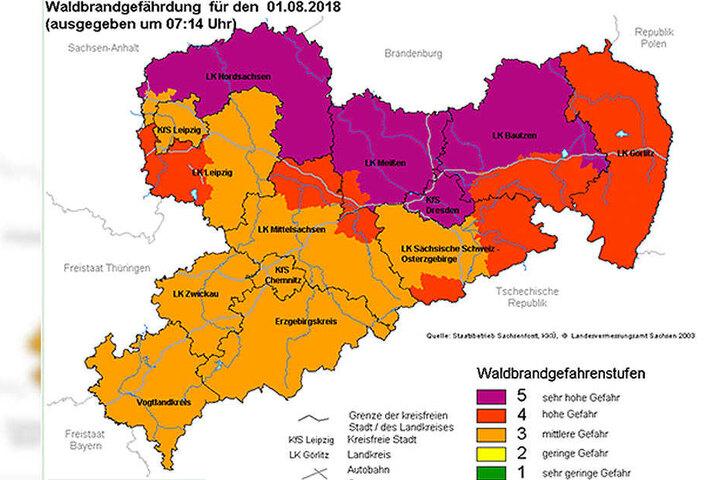 Aktuell liegt in Chemnitz die Waldbrandstufe 3 vor.
