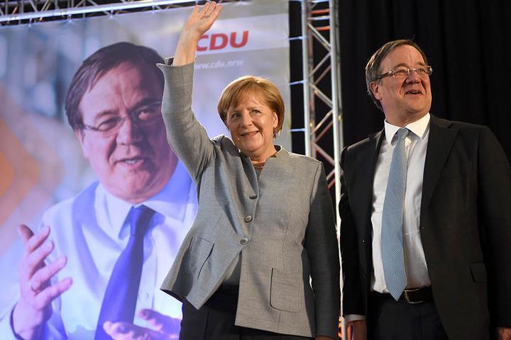 Beide im CDU-Wahlkampf: Angela Merkel als Kanzlerkandidatin und Armin Laschet als NRW-Kandidat.