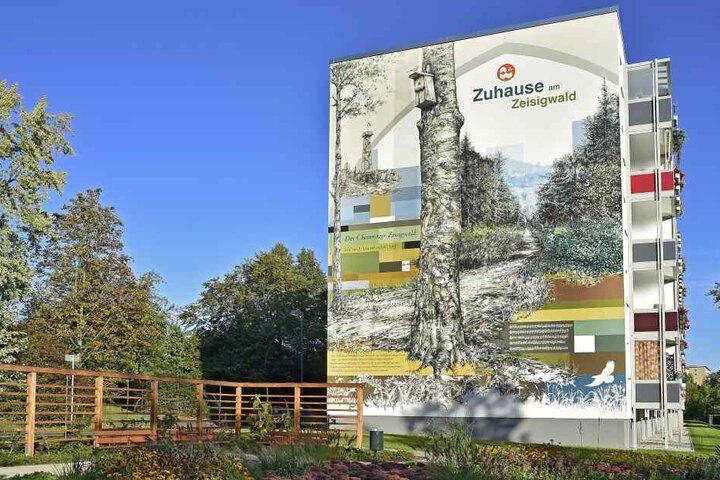 Auch am Zeisigwald haben die Graffiti-Künstler eine Fassade gestaltet.