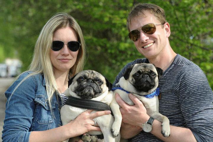 Carolyna (27) und Tom Langer (30) reisten mit ihren Möpsen Carli (2) und Pauli (5) aus Gera an.