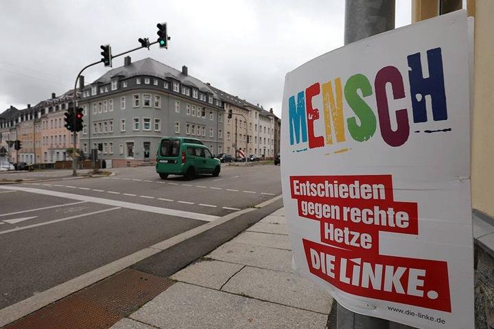 """""""Mensch"""" vergessen: Das Wahlplakat der Linken hängt noch in der Frankenberger  Straße."""