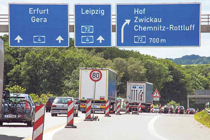 Auch im Raum Chemnitz brauchen Autofahrer starke Nerven. Hier die Baustelle  am Kreuz A4/A72.