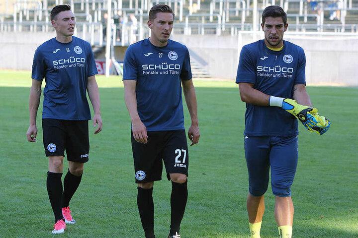 Drei Neuzugänge unter sich: Nils Quaschner (23) fiel zuletzt verletzt aus. Daneben Konstantin Kerschbaumer (25) und Stefan Ortega (24).
