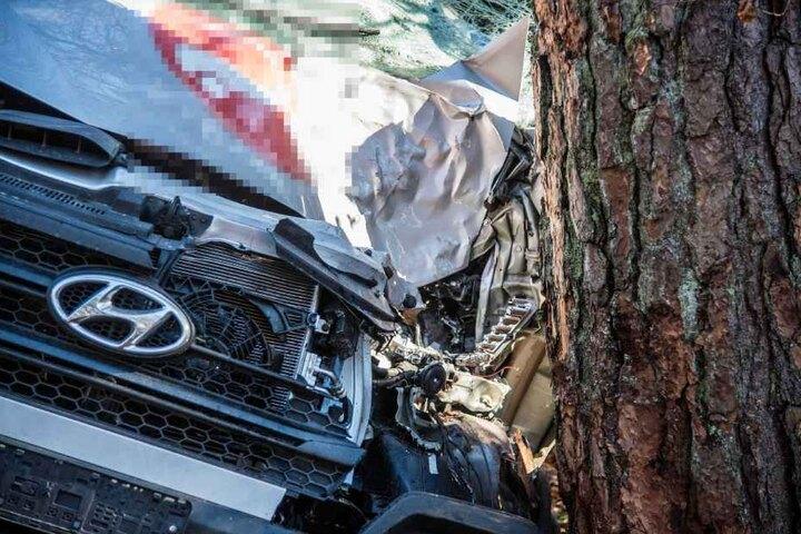 Der Baum steht immer noch, das Auto ist wohl ein Totalschaden.