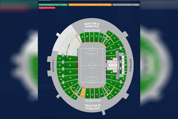 Auf diesem Bild kann man die bisherigen Ticketverkäufe gut nachvollziehen: Für alle grün unterlegten Blöcke gibt es noch ausreichend Tickets.