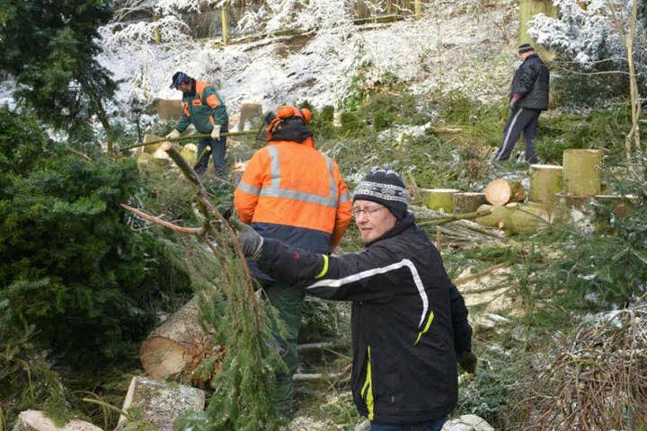 Die fleißigen Helfer schufteten am Wochenende, um die gröbsten Schäden zu beseitigen.