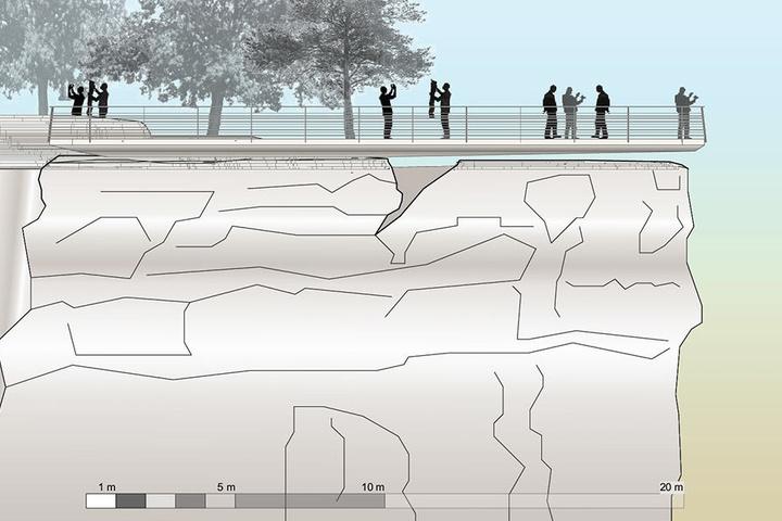Der geplante Schwebe-Steg ist 20 Meter lang: Knapp acht Meter schweben bis zu 60 Zentimeter über dem porösen Bastei-Felsen. Visualisierung: Staatsbetrieb Sächsisches Immobilien- und Baumanagement.
