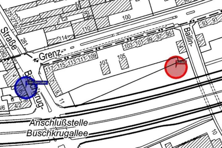 Diese Karte zeigt den Fundort (roter Kreis) der Leiche und den s-Bahnhof Grenzallee (blau), wo sich das Opfer sehr oft aufgehalten hat.