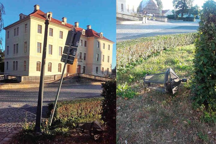 Auch vor dem Park wurde kräftig randaliert. Im Park rissen die Unholde die Köpfe von den Laternen.