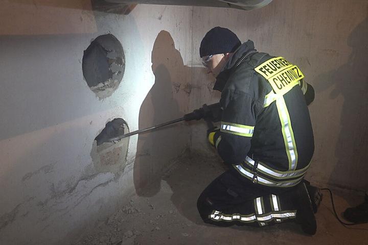 Die Feuerwehr rückte mit schwerem Gerät an um die fünf Monate alte Katze zu retten.