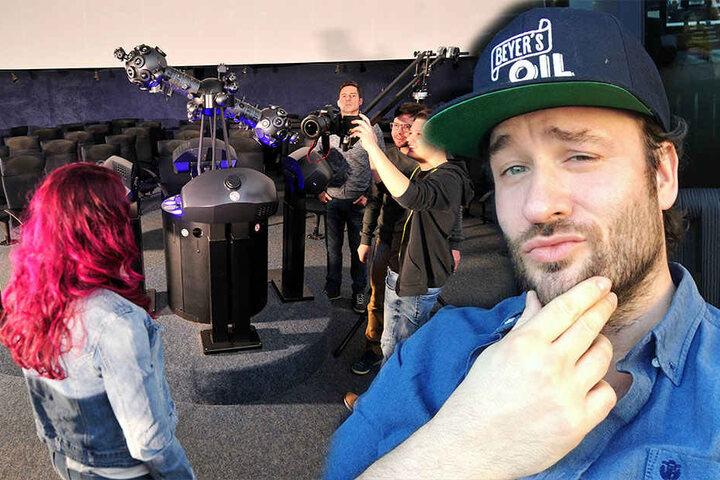 Links: Im Planetarium Lichtenstein drehte das Team um Vivien das Video zum Song. Rechts: Tilo Behn (40) arbeite u.a. für Stefan Raab. Aus seiner Feder stammt der Erzi-Star-Song.