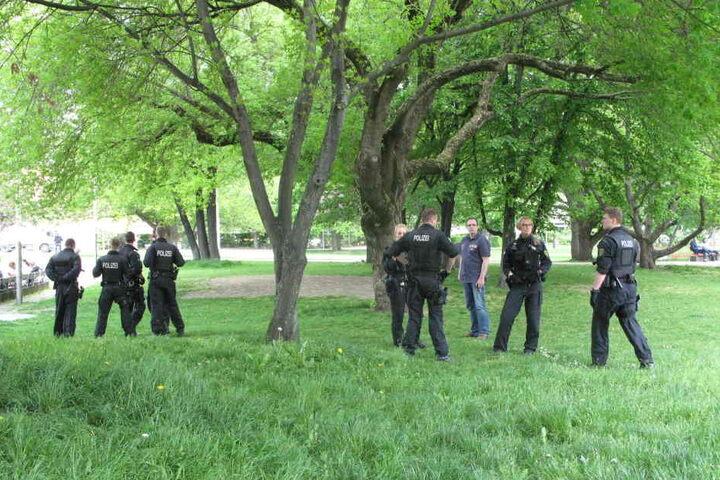 Nach der Messerattacke durchsuchten Polizisten den Stadthallenpark nach der Tatwaffe.