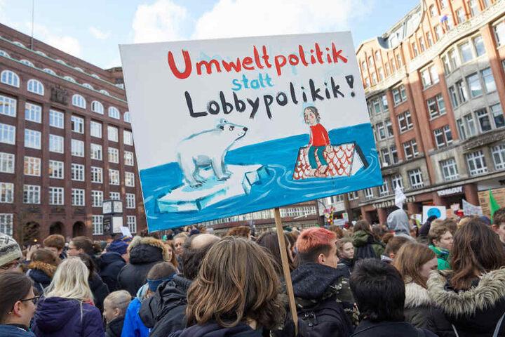 """Klimaaktivisten stehen während einer """"Fridays for Future""""-Klimademonstration auf dem Hamburger Gänsemarkt."""
