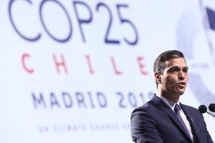 Pedro Sanchez, amtierender Ministerpräsident von Spanien, hält eine Rede zur Eröffnung der 25. UN-Klimakonferenz in Madrid.