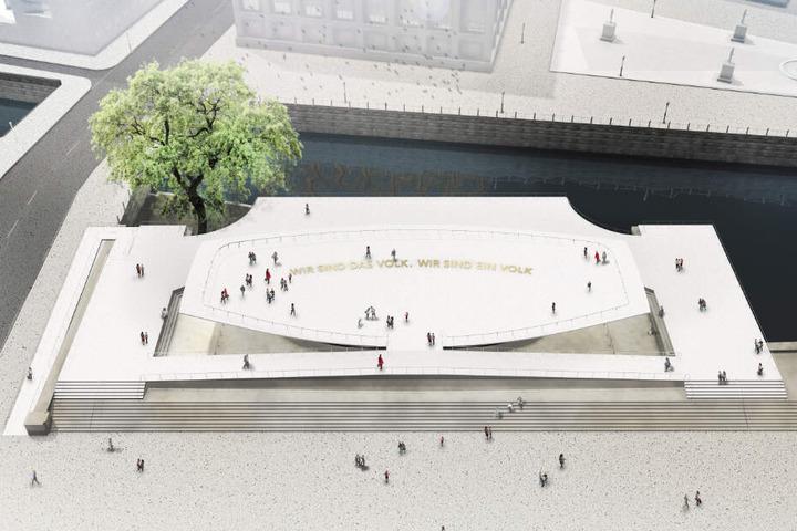 Die undatierte Computergrafik zeigt den Entwurf der Gestalter Milla & Partner für das in Berlin geplante Freiheits- und Einheitsdenkmal.