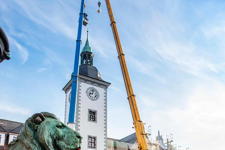 Das Freiberger Rathaus ist nach der Sanierung wieder ein Hingucker am Obermarkt.