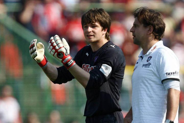 Heiko Weber (r.) holte Martin Männel 2008 nach Aue. Seither ist er mit nur einer kurzen Unterbrechung die Nummer 1 in Aue.