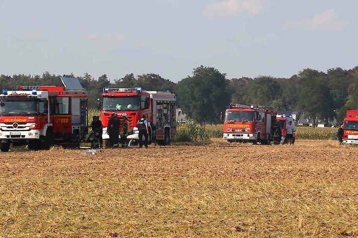 Die Einsatzkräfte benötigten eine Stunde, um das brennende Feld zu löschen.