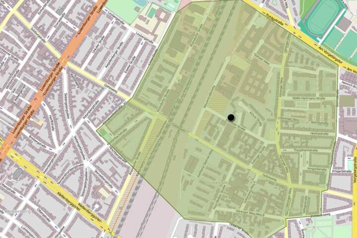 Diese Karte zeigt den Evakuierungsbereich um den Bombenfund an der Briedeler Straße in Köln-Zollstock.