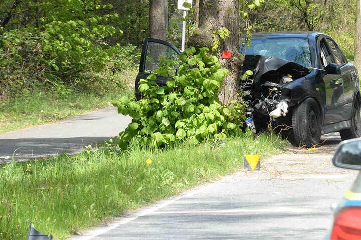 Der Mann kam von der Straße ab und krachte frontal gegen den Baum.