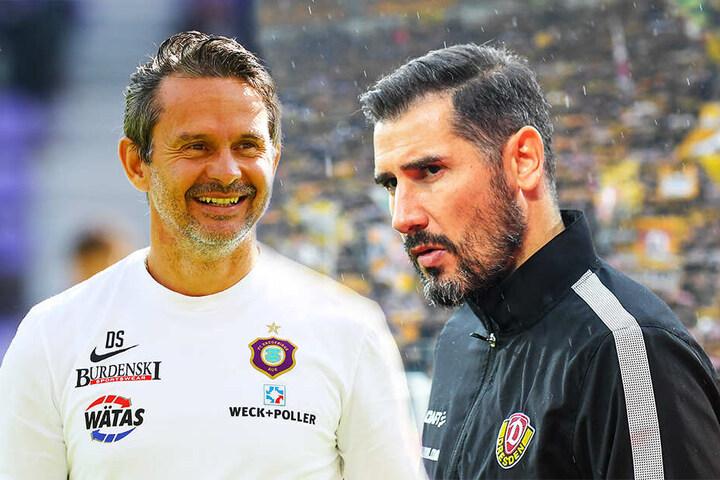 Während die Laune beim FC Erzgebirge Aue und Trainer Dirk Schuster (l.) gut ist, ist die Stimmung bei Dynamo Dresden und Coach Cristian Fiel schlecht.