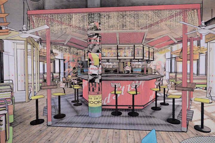 So wird sie aussehen, die sechseckige Bar mitten im Erdgeschoss.