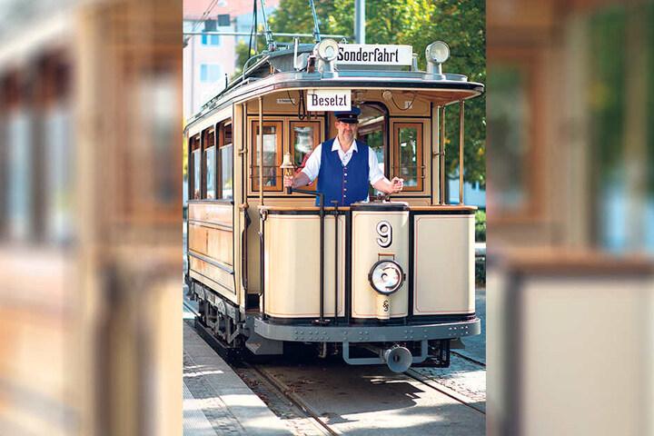 So sieht sie von außen aus, die älteste Straßenbahn in Potsdam.