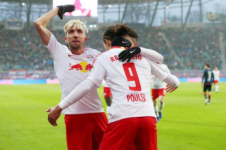 Kevin Kampl, Yussuf Poulsen und Diego Demme (v.l.n.r.) dürfen sich auf den türkischen Rekordmeister freuen.